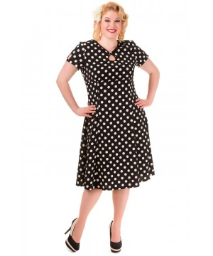 Vintage Style Polka Dot Short Sleeve Party Dress