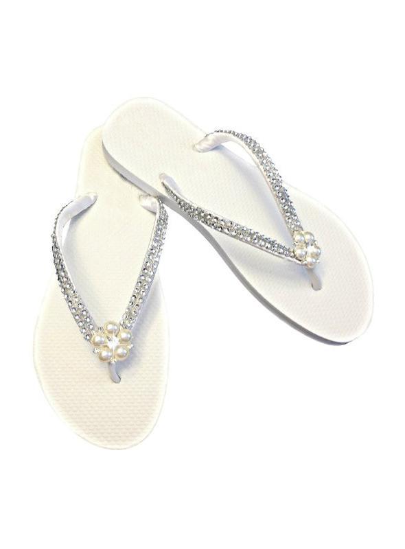 Vintage Style Bridal Flip Flops with Pearls Rhinestones