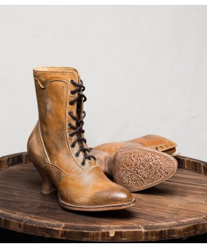 Victorian Style Leather Ankle Boots in Tan Rustic