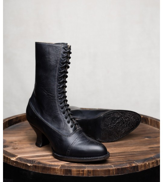 Victorian Mid-Calf Leather Boots in Black Rustic by Oak Tree Farms