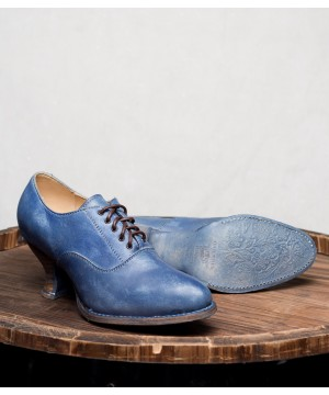 Victorian Style Leather Lace-Up Shoes in Steel Blue by Oak Tree Farms