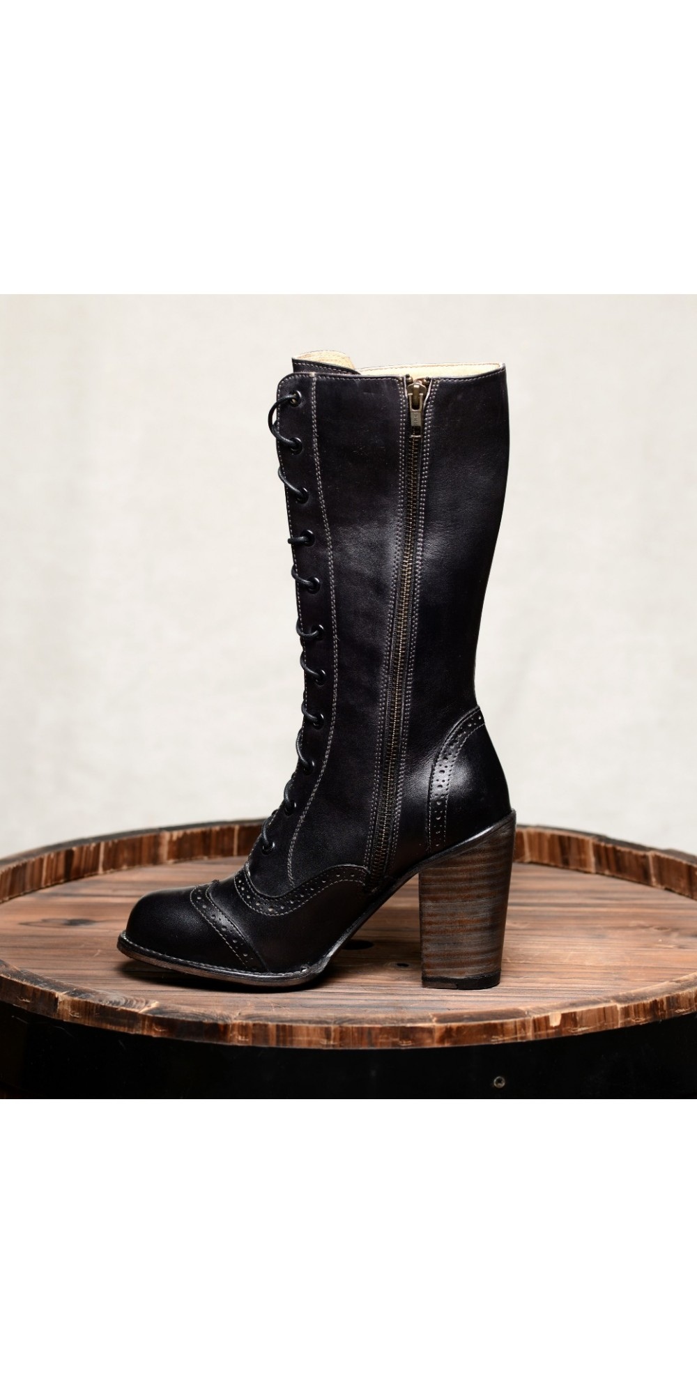 21751b3b5c46 ... Victorian Inspired Mid-Calf Leather Boots in Black Rustic by Oak Tree  Farms ...
