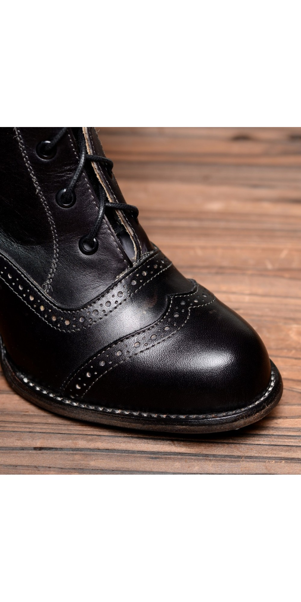 807a650d55db ... Victorian Inspired Mid-Calf Leather Boots in Black Rustic by Oak Tree  Farms