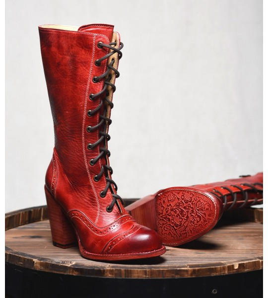 Victorian Inspired Mid-Calf Leather Boots in Red Rustic by Oak Tree Farms