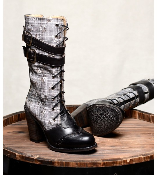 Steampunk Style Mid-Calf Leather Black Boots by Oak Tree Farms