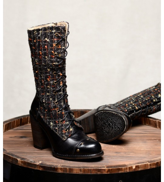 Modern Vintage Style Mid-Calf Leather Boots in Black Rustic by Oak Tree Farms