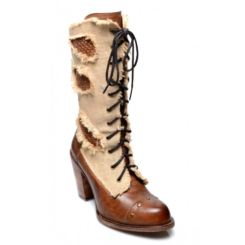 Modern Vintage Style Mid-Calf Leather Boots in Tan Rustic