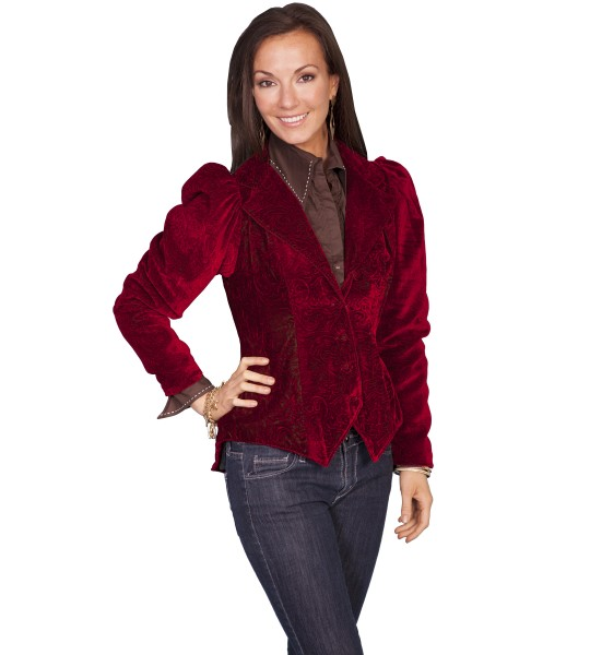 Western Style Embossed Velvet Coat in Red by Scully Leather