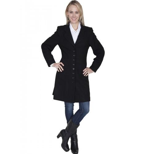 Western Style Wool Frock Coat in Black