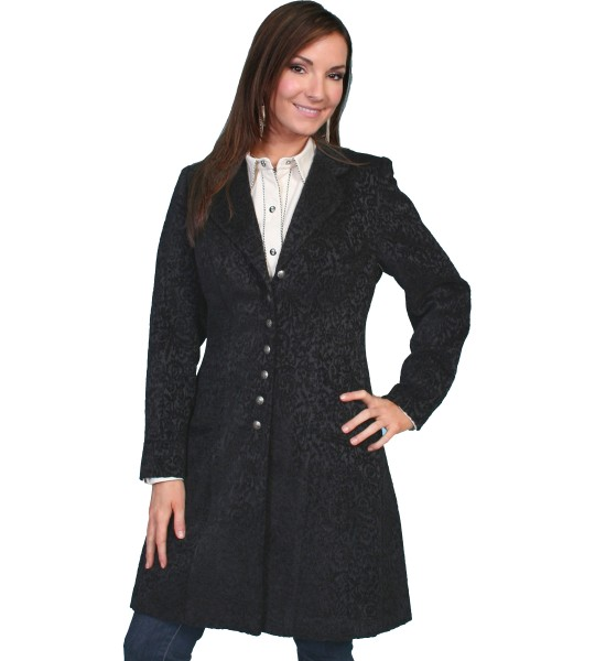 Western Style Chenille Frock Coat in Black by Scully Leather