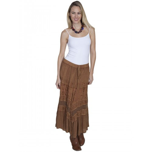 Western Style Full Length Embroidered Skirt in Beige