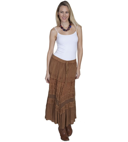 Western Style Full Length Embroidered Skirt in Beige by Scully Leather