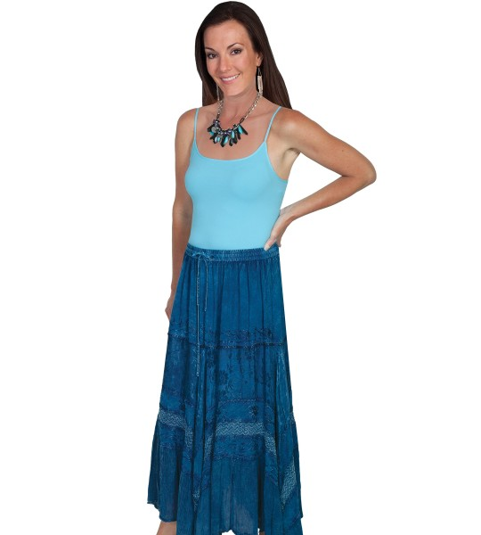 Western Style Full Length Embroidered Skirt in Denim by Scully Leather