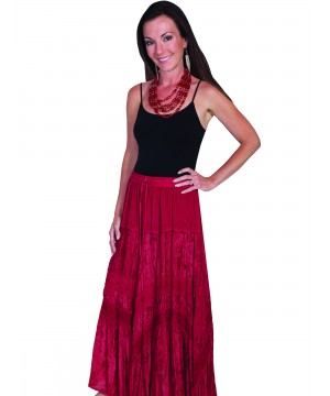 Western Style Full Length Embroidered Skirt in Burgundy by Scully Leather