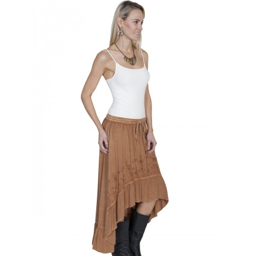 Western Style High-Low Embroidered Skirt in Beige