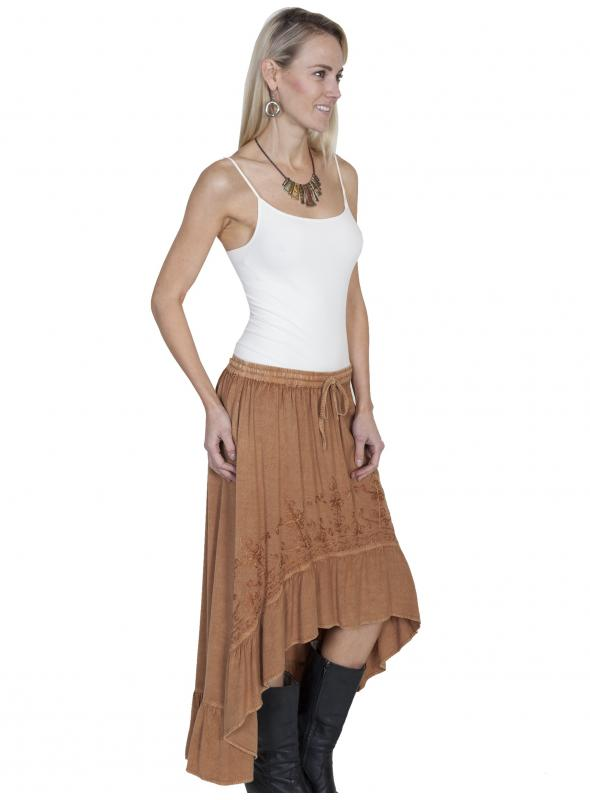 Western Style High-Low Embroidered Skirt in Beige by Scully Leather
