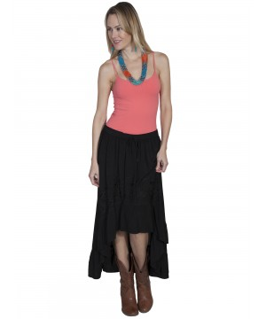 Western Style High-Low Embroidered Skirt in Black by Scully Leather