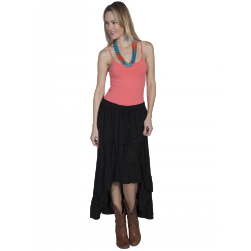 Western Style High-Low Embroidered Skirt in Black