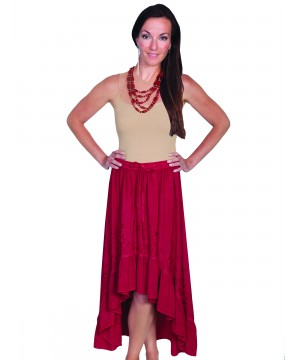 Western Style High-Low Embroidered Skirt in Burgundy by Scully Leather