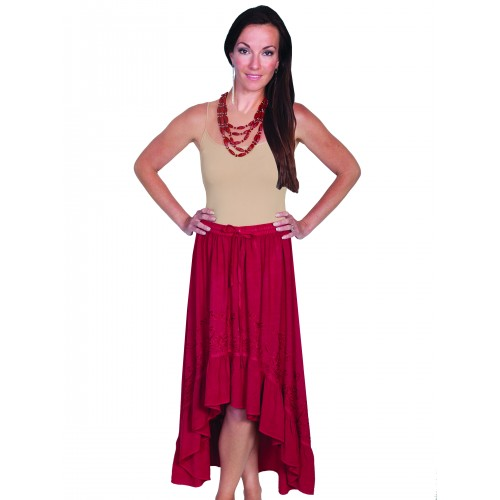 Western Style High-Low Embroidered Skirt in Burgundy