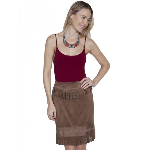 Western Style Short Fringe Skirt in Chocolate