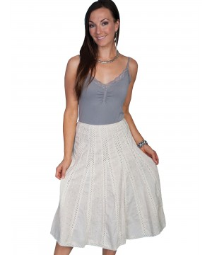 Western Style Crochet Skirt in Ivory by Scully Leather
