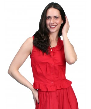 Western Style Ruffled Camisole in Red by Scully Leather