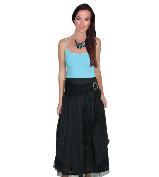 Western Style Multi-Layered Skirt in Black by Scully Leather