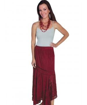 Western Style Multi-Fabric Skirt in Burgundy by Scully Leather