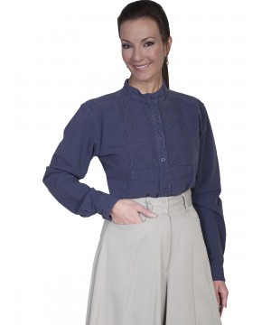 Rangewear Victorian Style Blouse in Blue by Scully Leather
