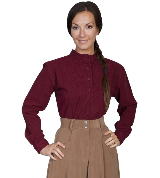 Rangewear Farmhouse Style Blouse in Burgundy by Scully Leather