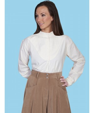 Rangewear Farmhouse Style Blouse in Ivory by Scully Leather