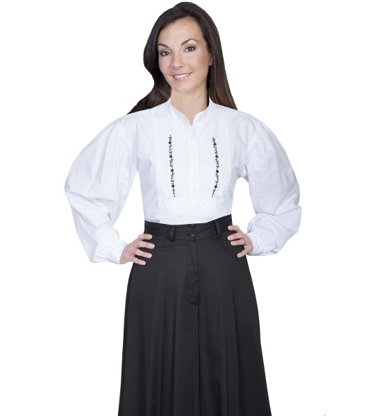 Rangewear Victorian Style Embroidered Shirt in White by Scully Leather