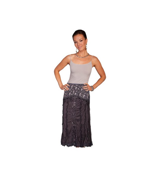 Western Style Lace & Crochet Skirt in Charcoal by Scully Leather