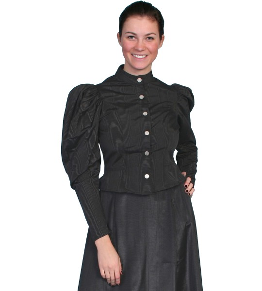 Wahmaker Victorian Style Puff Sleeves Blouse in Black by Scully Leather