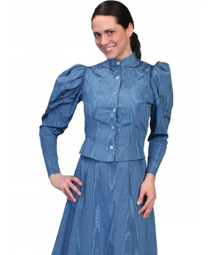 Wahmaker Victorian Style Puff Sleeves Blouse in Blue by Scully Leather
