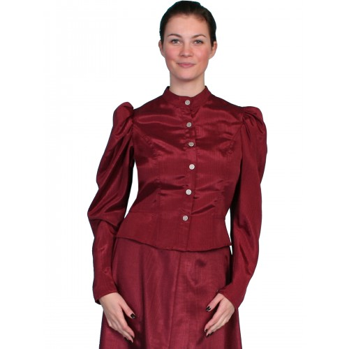 Victorian Style Puff Sleeves Blouse in Burgundy