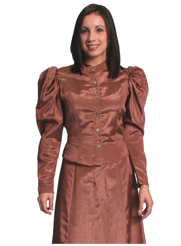 Wahmaker Victorian Style Puff Sleeves Blouse in Chocolate by Scully Leather