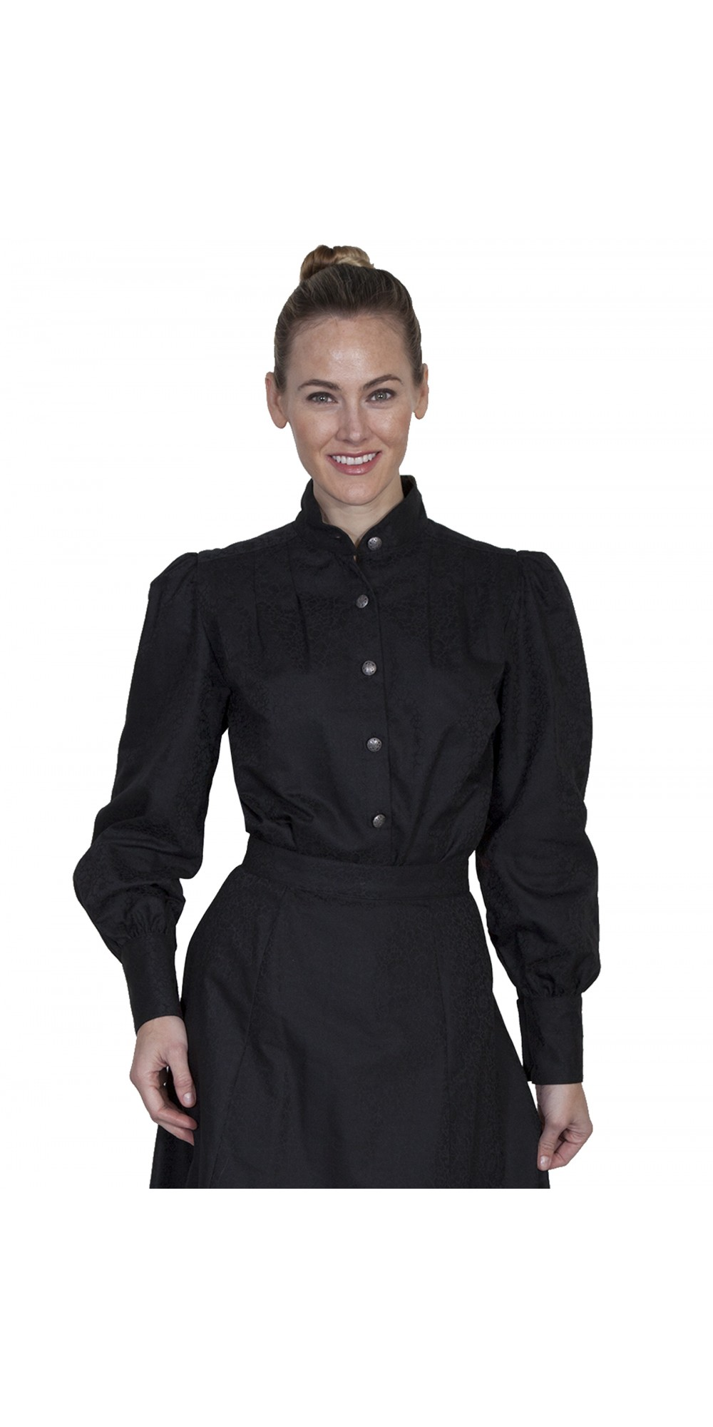 438c63032ab33 Wahmaker Victorian Style Band Collar Black Blouse by Scully Leather