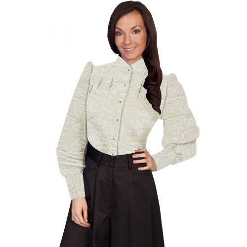 Victorian Style Band Collar Ivory Blouse