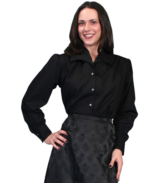 Wahmaker Victorian Style Wide Lapel Blouse in Black by Scully Leather