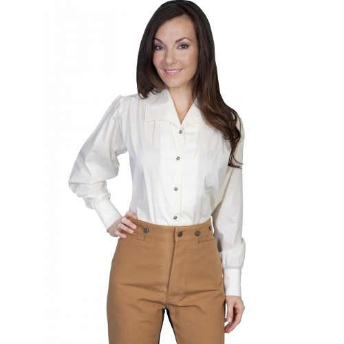 Victorian Style Wide Lapel Blouse in Ivory