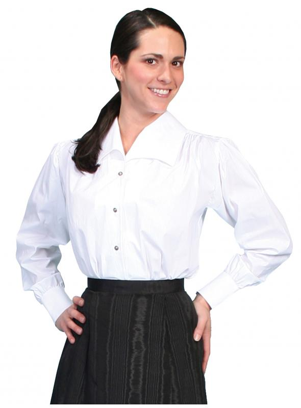 Wahmaker Victorian Style Wide Lapel Blouse in White by Scully Leather