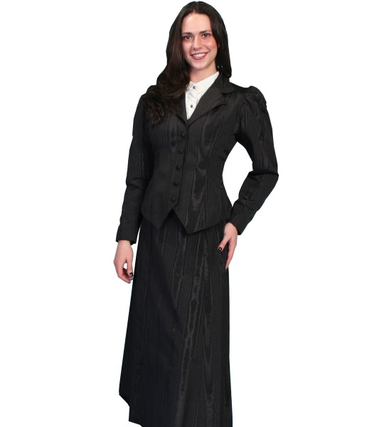 Wahmaker Victorian Style Five Gore Walking Skirt in Black by Scully Leather