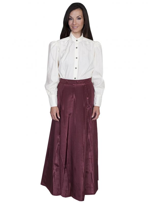 Wahmaker Victorian Style Five Gore Walking Skirt in Burgundy by Scully Leather
