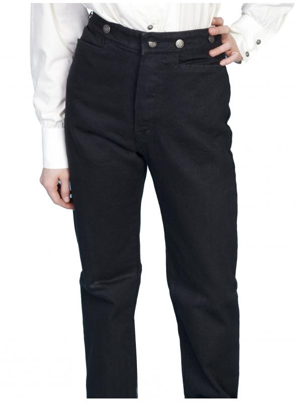 Wahmaker Victorian Style Canvas Pants in Black by Scully Leather