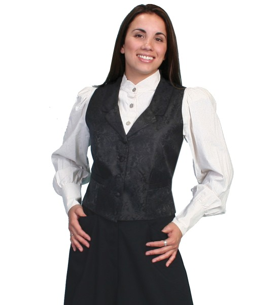 Rangewear Victorian Style Delicate Paisley Vest in Black by Scully Leather