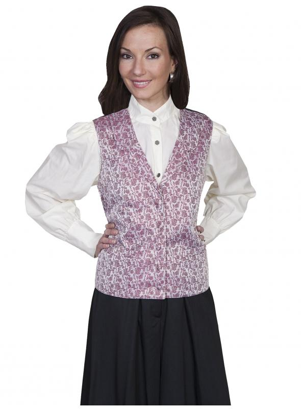 Rangewear Victorian Style Rose Vine Vest in Rose by Scully Leather