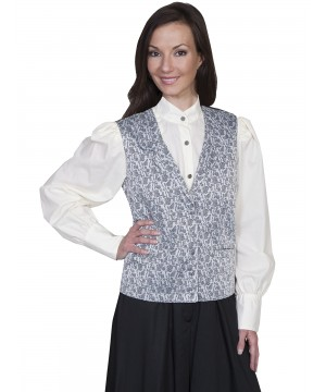 Rangewear Victorian Style Rose Vine Vest in Taupe by Scully Leather