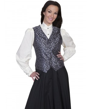 Rangewear Victorian Style Rose Vine Vest in Black by Scully Leather